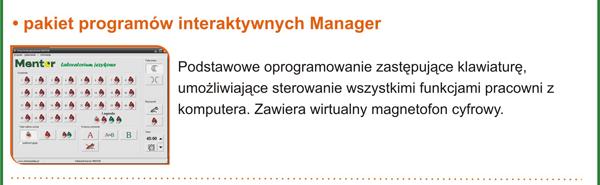Pracownia językowa Mentor plus - pakiet programów Manager